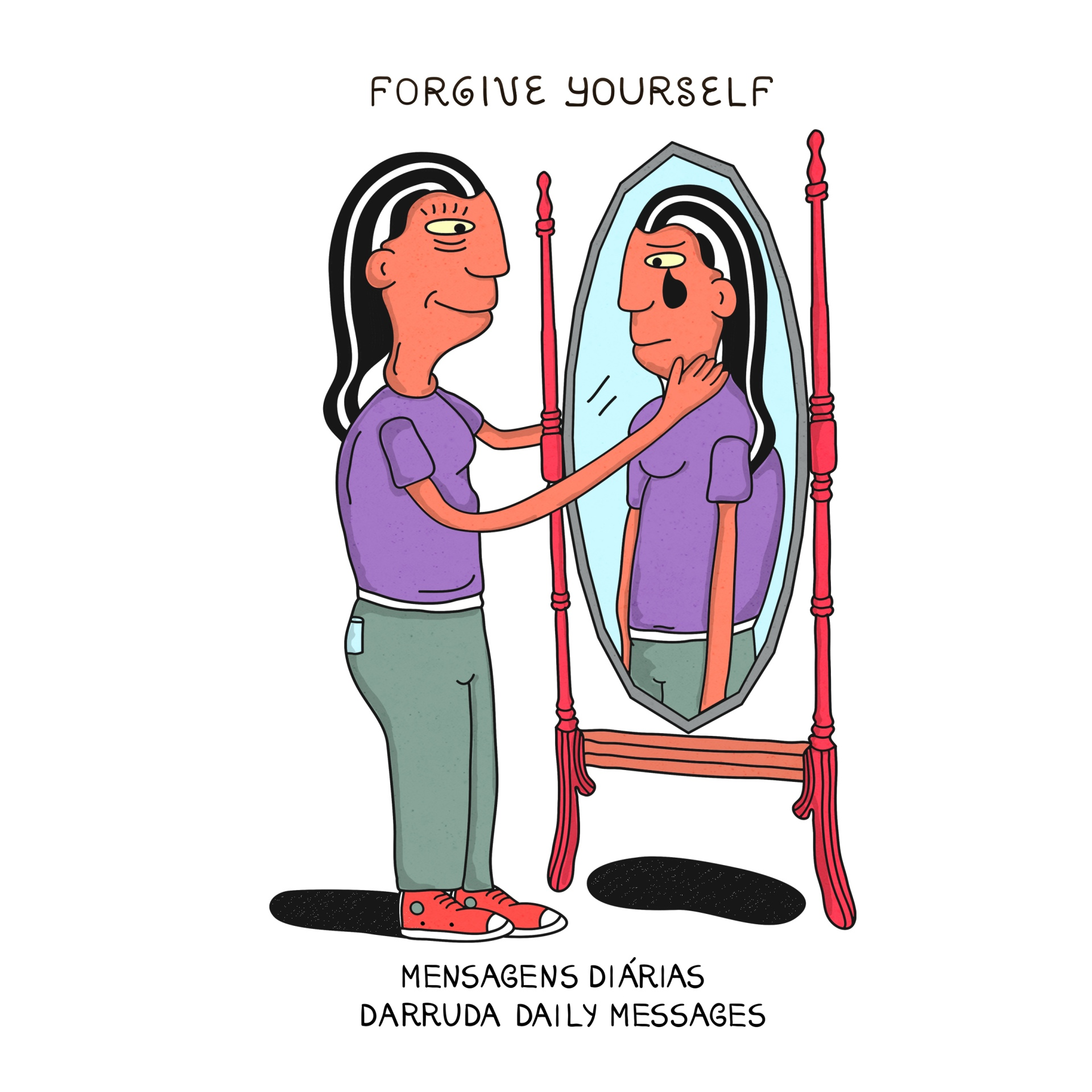 Woman looking at the mirror crying