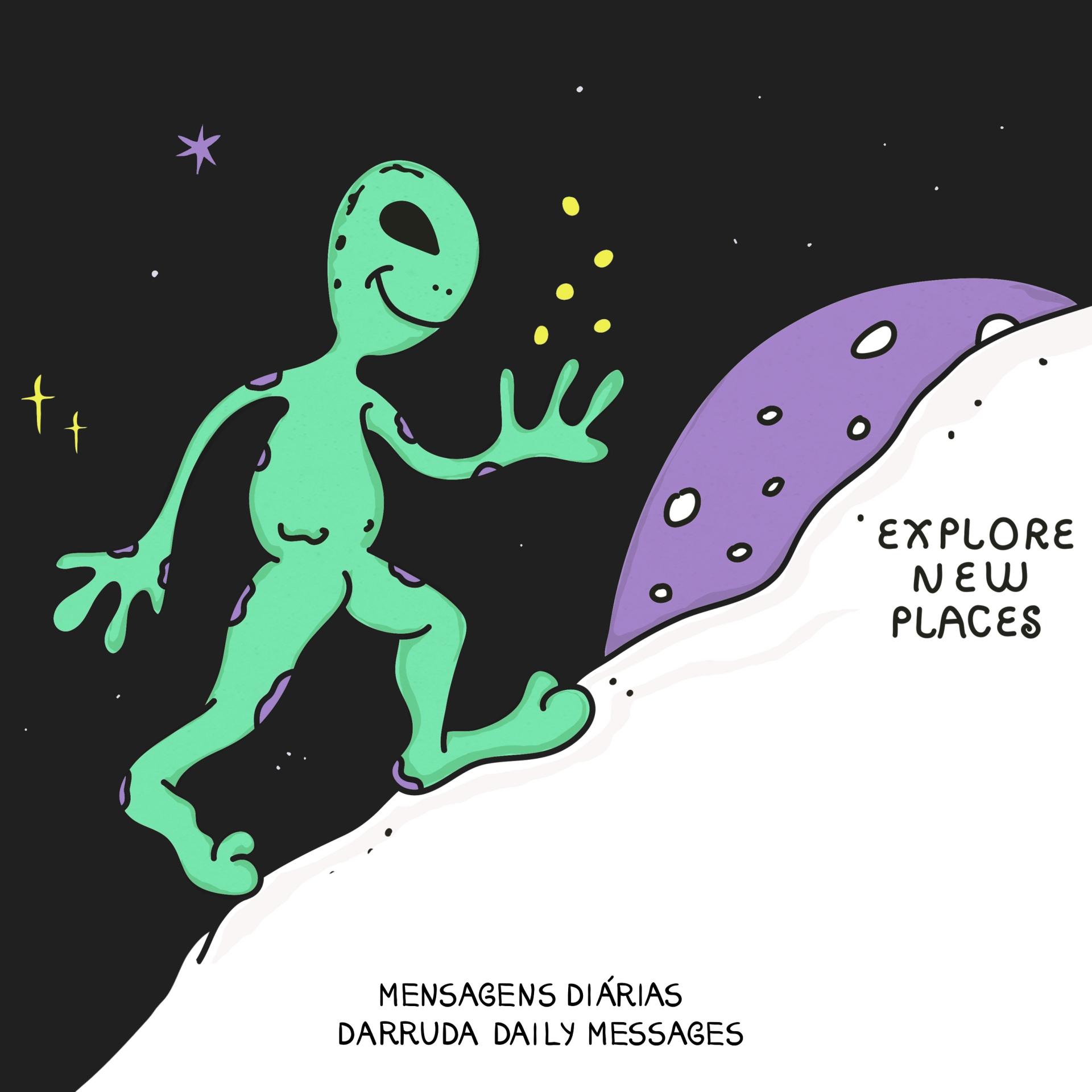 alien walking on the moon