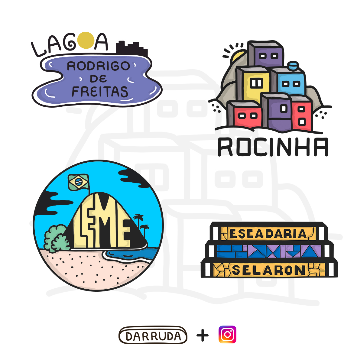 colorful drawings representing the locations of the city