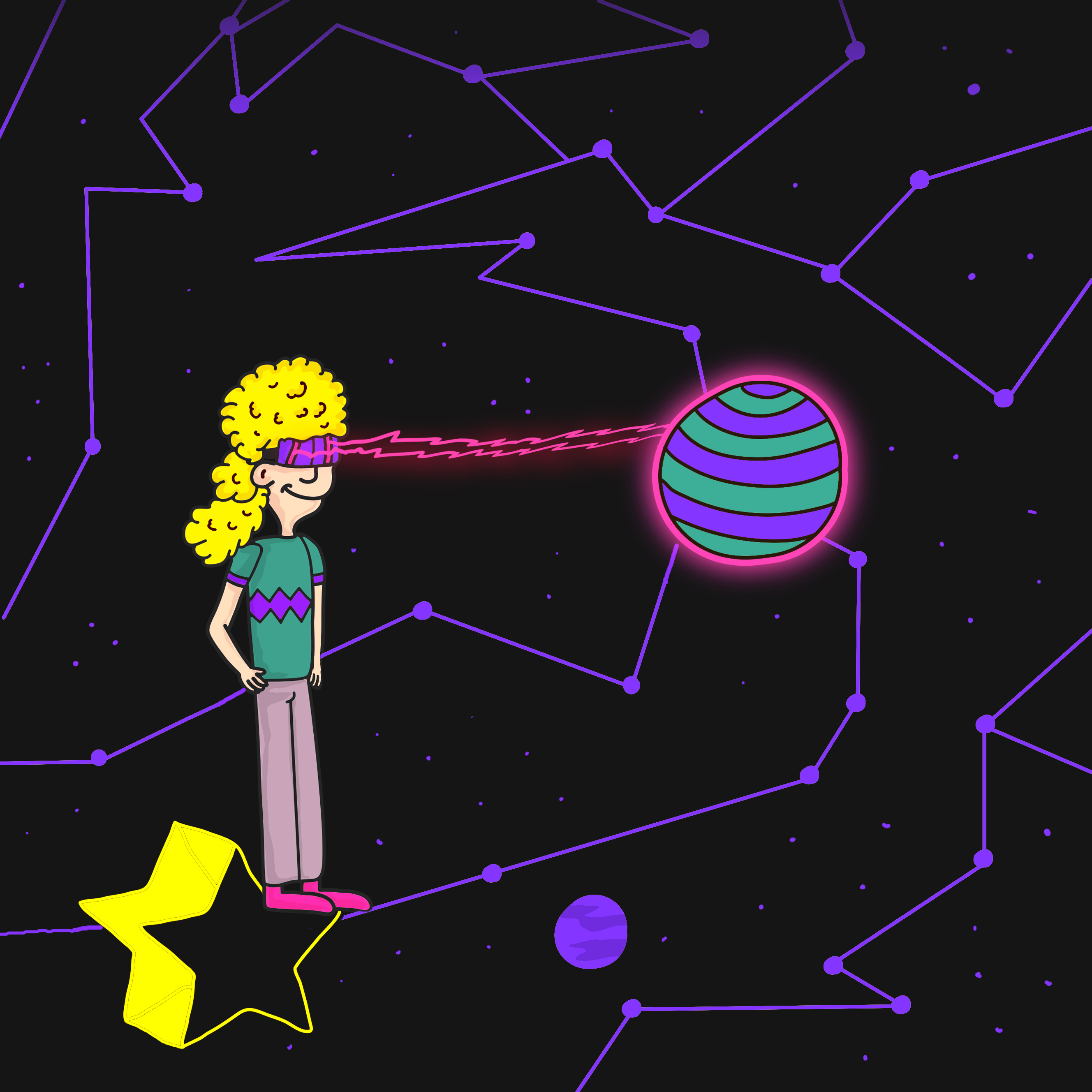 """The universe"" Robert traveled 4.3 light years away until he finds his favorite star. When he learned how to use his Gamma Ray glasses he could finally create his own constellation. This took him to the most shining and strong star in the galaxy called Phoenix. From above, he observed an infinite number of worlds simply because there is an infinite amount of space for them to be. However, he realized that not all of them are inhabited. He had to travel the universe, discover the truth and find his own tribe."
