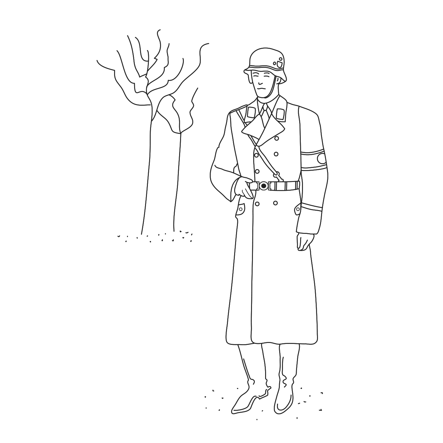 German SS Soldier and tree