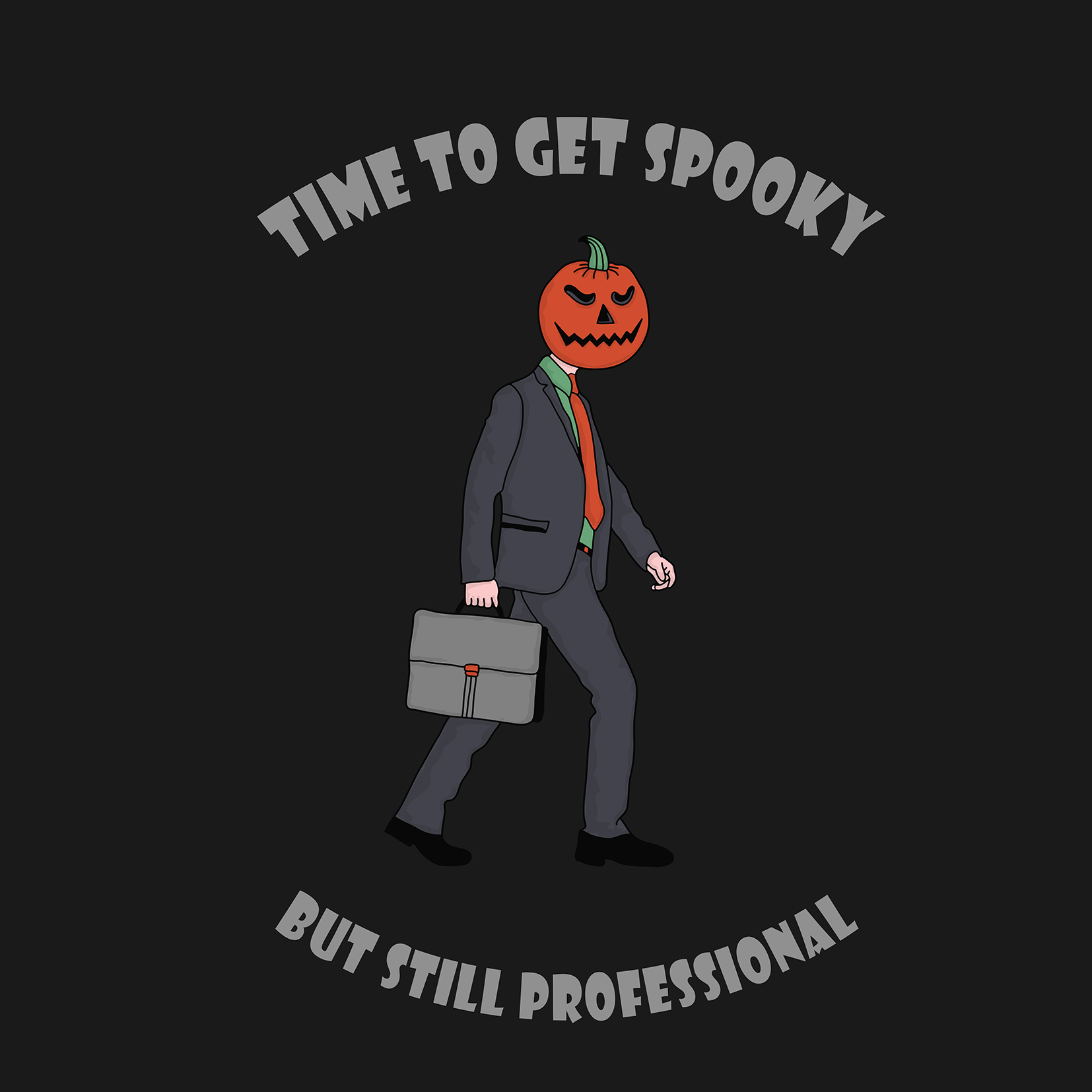 Business man walking with a pumpkin head